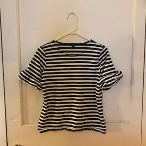 { j. crew } black & white striped ruffled sleeve t